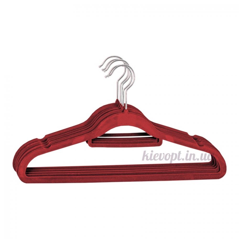 Плечики вешалки бархатные (флокированные, велюровые) бордовые, 42 см