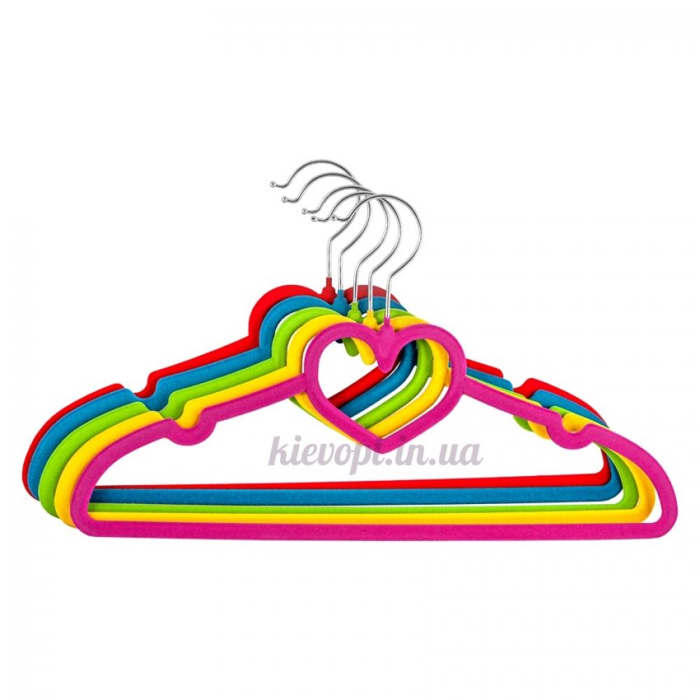 Плечики вешалки бархатные цветные сердце, 40 см, 5 шт (07-01-02)