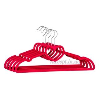 Плечики вешалки бархатные розовые сердце, 40 см, 5 шт (07-01-11)