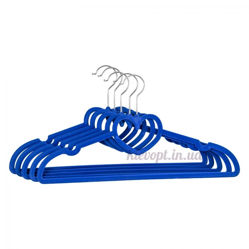 Плечики вешалки бархатные синие сердце, 40 см, 5 шт (07-01-06)