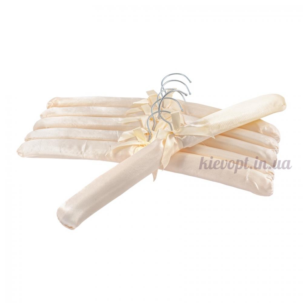 Плечики вешалки атласные для деликатных вещей молочные, 38 см