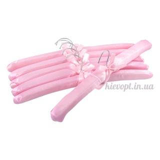 Плечики вешалки атласные для деликатных вещей розовые, 38 см