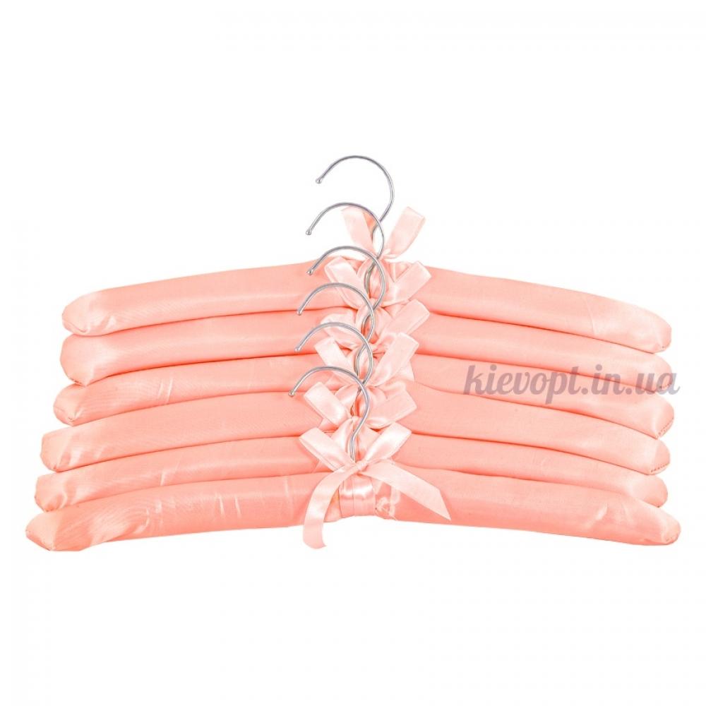 Плечики вешалки атласные для деликатных вещей персиковые, 38 см