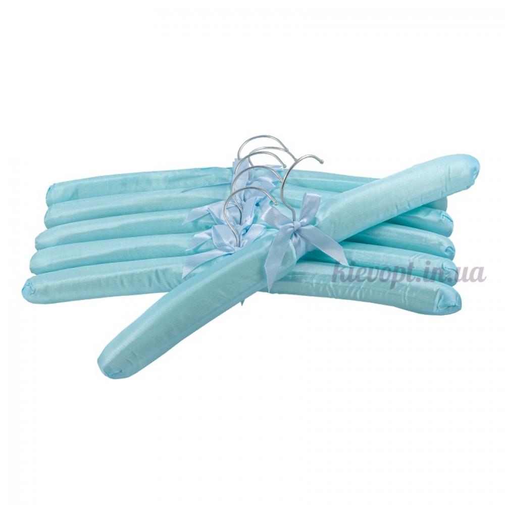 Плечики вешалки атласные для деликатных вещей бирюзовые, 38 см
