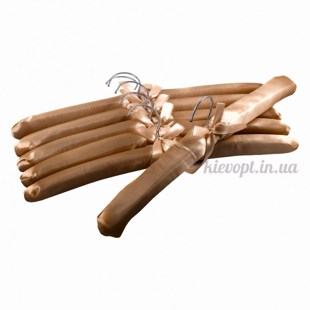 Плечики вешалки атласные для деликатных вещей коричневые, 38 см