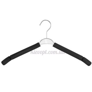 Плечики вешалки поролоновые черные с серебрянной вставкой, 40 см