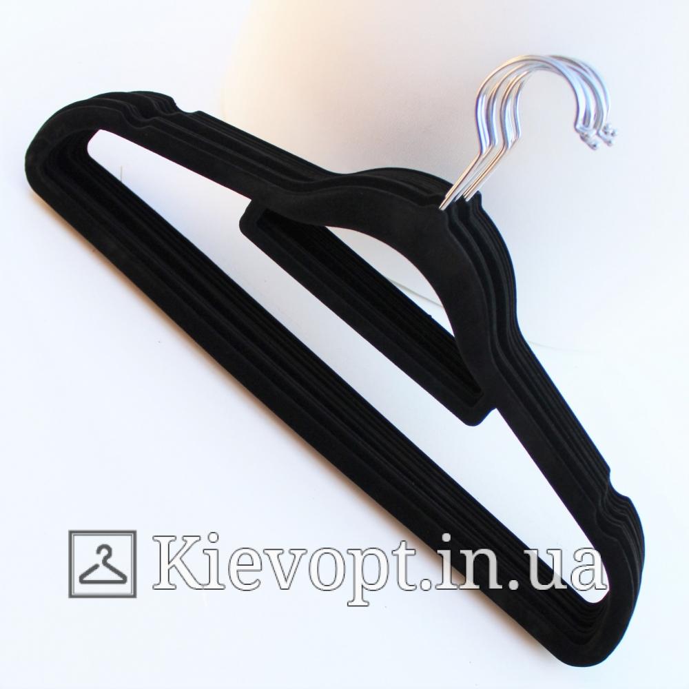 Плечики вешалки бархатные (флокированные, велюровые) черные, 42 см
