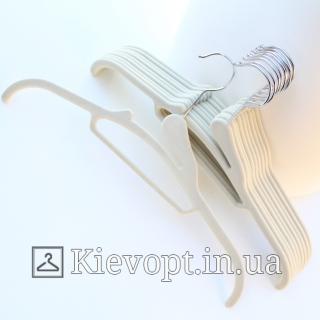 Плечики вешалки бархатные (флокированные, велюровые) бежевые, 41 см