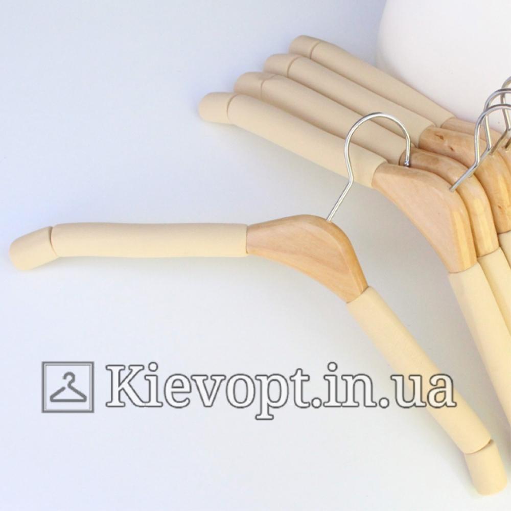 Плечики вешалки поролоновые мягкие бежевые, 39 см