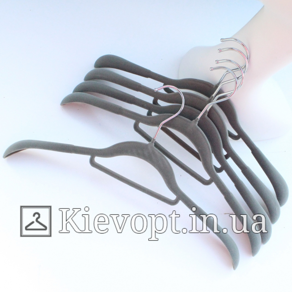 Плечики вешалки бархатные (флокированные) для одежды серые, 42 см (07-05-09)