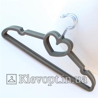 Плечики вешалки бархатные серые сердце, 40 см (07-01-34)