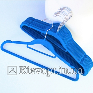 Плечики вешалки бархатные (флокированные, велюровые) синие, 42 см, 5 шт