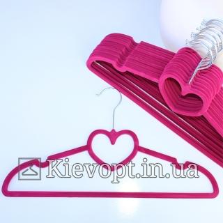 Плечики вешалки бархатные бордовые сердце, 40 см, 5 шт (07-01-04)