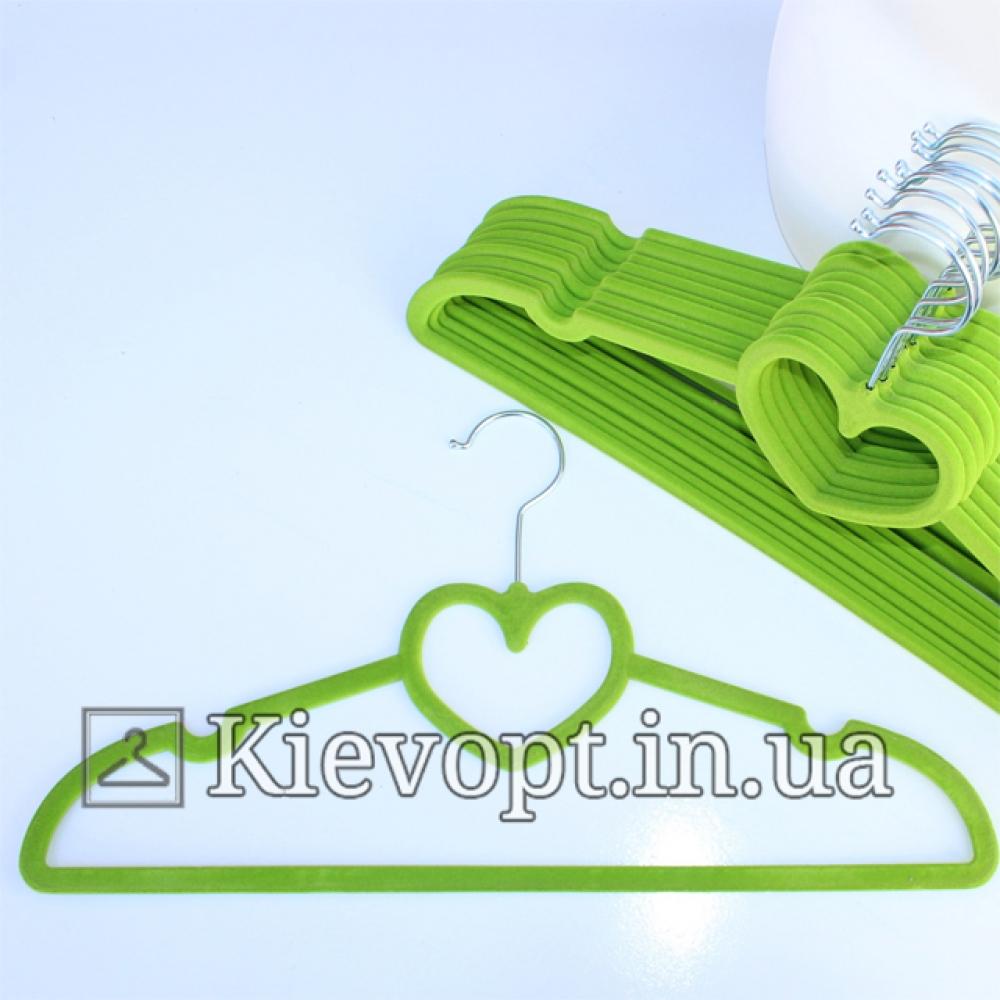 Плечики вешалки бархатные салатовые сердце, 40 см, 5 шт (07-01-17)