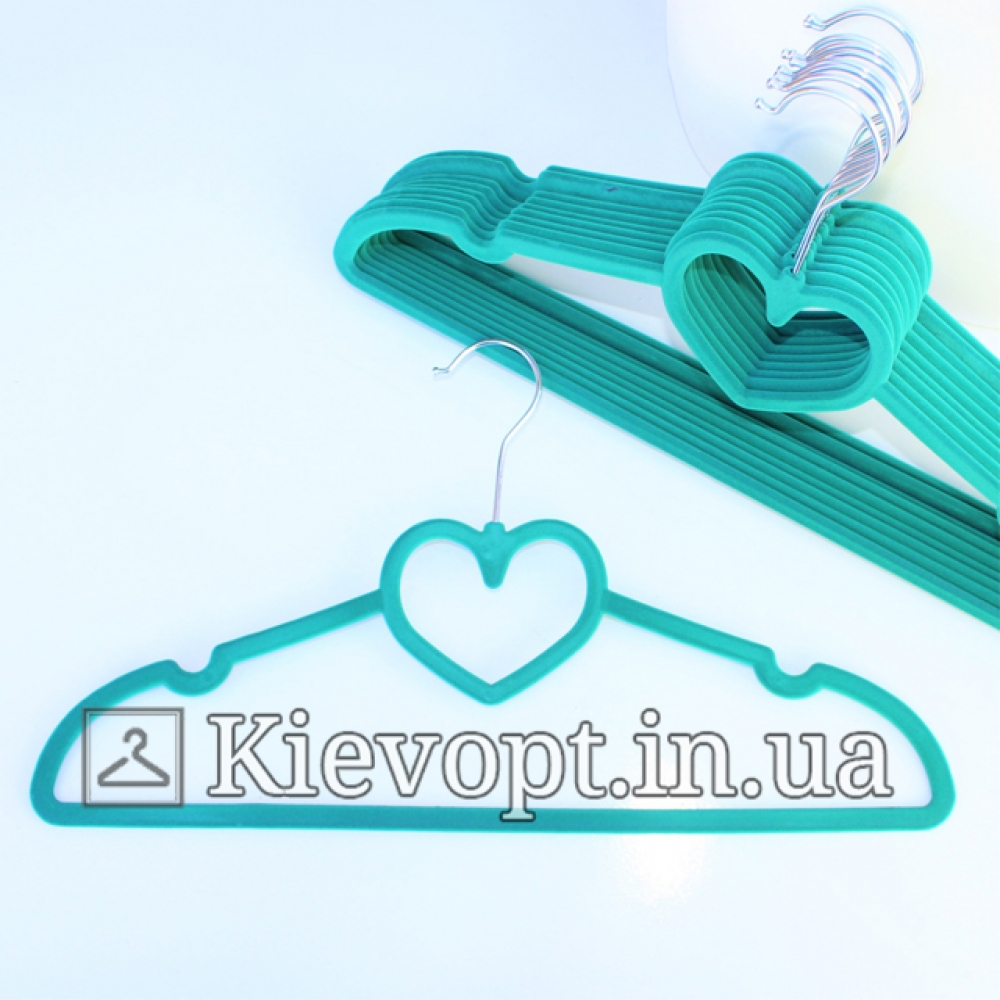 Плечики вешалки бархатные тиффани сердце, 40 см, 5 см (07-01-35)
