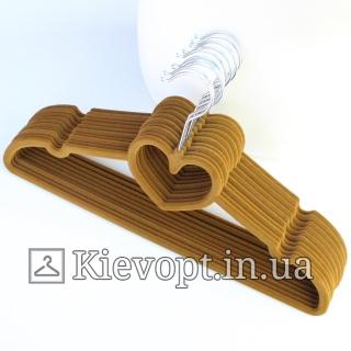 Плечики вешалки бархатные горчичные сердце, 40 см, 5 шт (07-01-18)