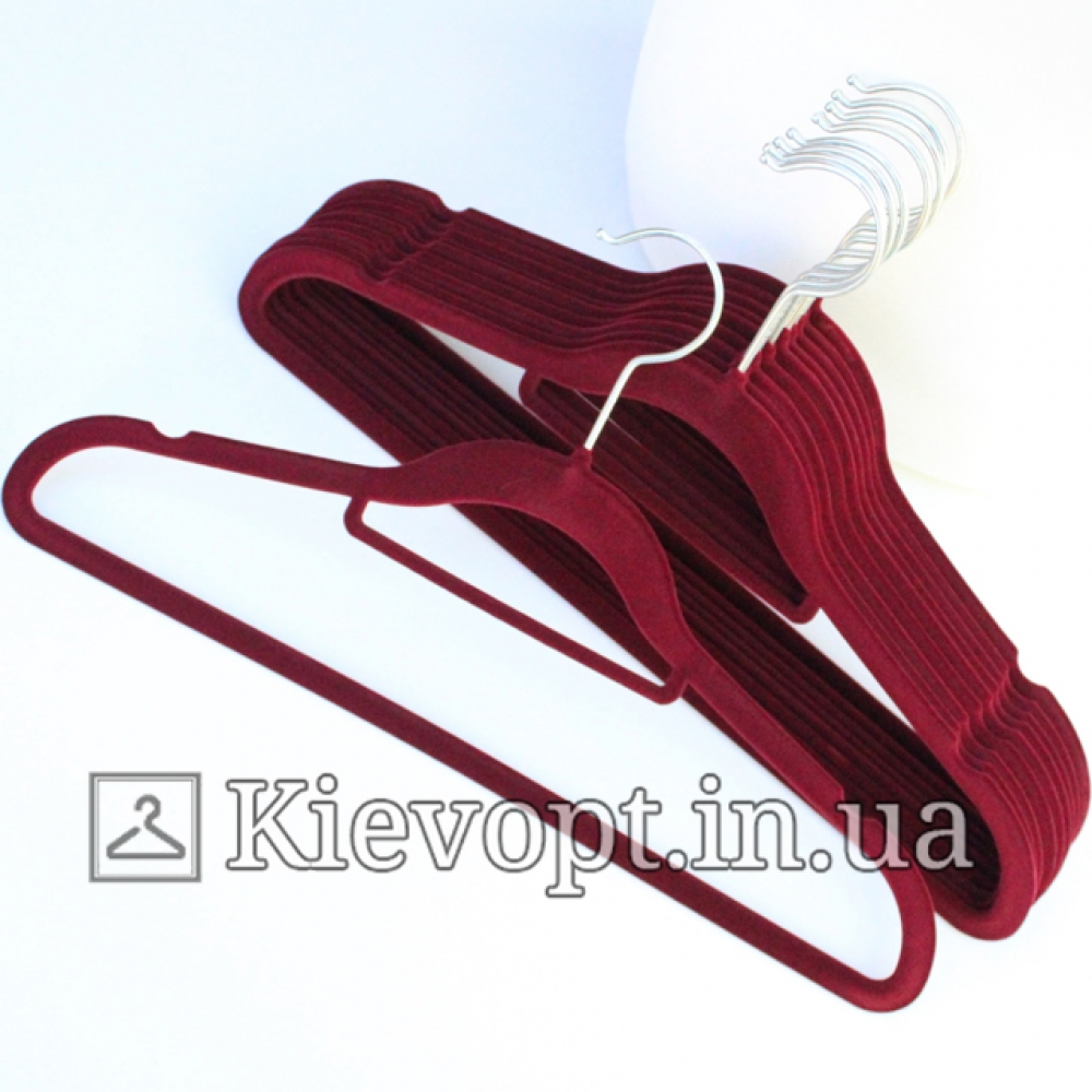 Плечики вешалки бархатные (флокированные, велюровые) марсала, 42 см, 5 шт