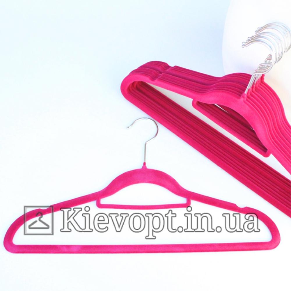 Плечики вешалки бархатные (флокированные, велюровые) алые, 42 см, 5 шт (07-01-16)