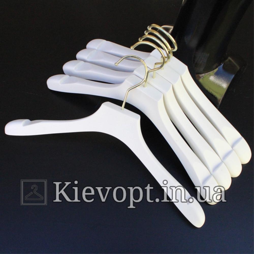 Плечики вешалки акриловые для верхней одежды белые, 40 см (05-05-42)