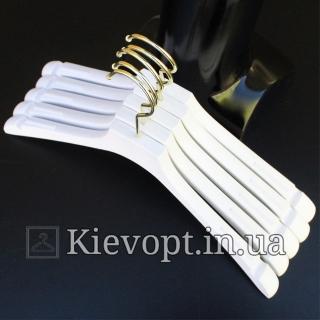 Плечики вешалки акриловые со структурой дерева белые, 40 см (02-01-07)