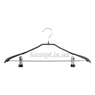 Плечики вешалки металлические с прищепками костюмные черные, 43 см