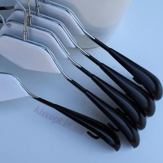 Плечики вешалки металлические черные с белой деревянной вставкой, 42 см