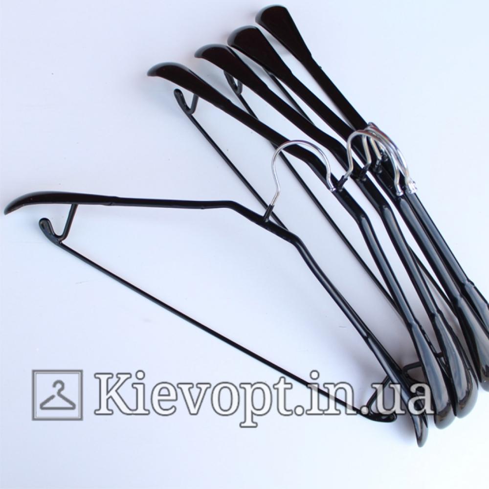 Вешалки плечики металлические прорезиненные костюмные черные, 44 см