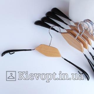 Плечики вешалки металлические с силиконовым покрытием и деревянной вставкой, 42 см