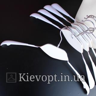 Плечики вешалки металлические белые с деревянной вставкой, 42 см