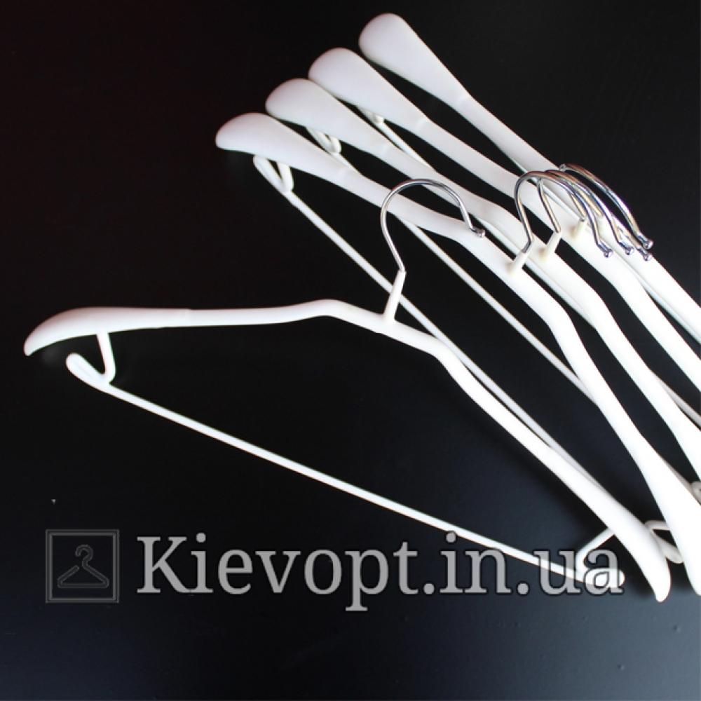 Вешалки плечики металлические прорезиненные костюмные белые, 44 см