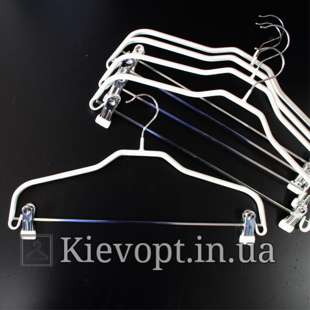 Плечики вешалки металлические с прищепками костюмные белые, 41 см
