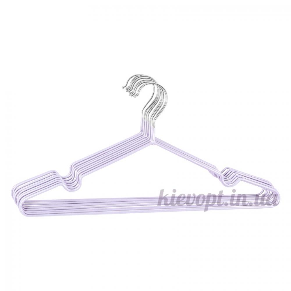 Металлические вешалки плечики в силиконовом покрытии фиалковые, 40 см, 10 шт