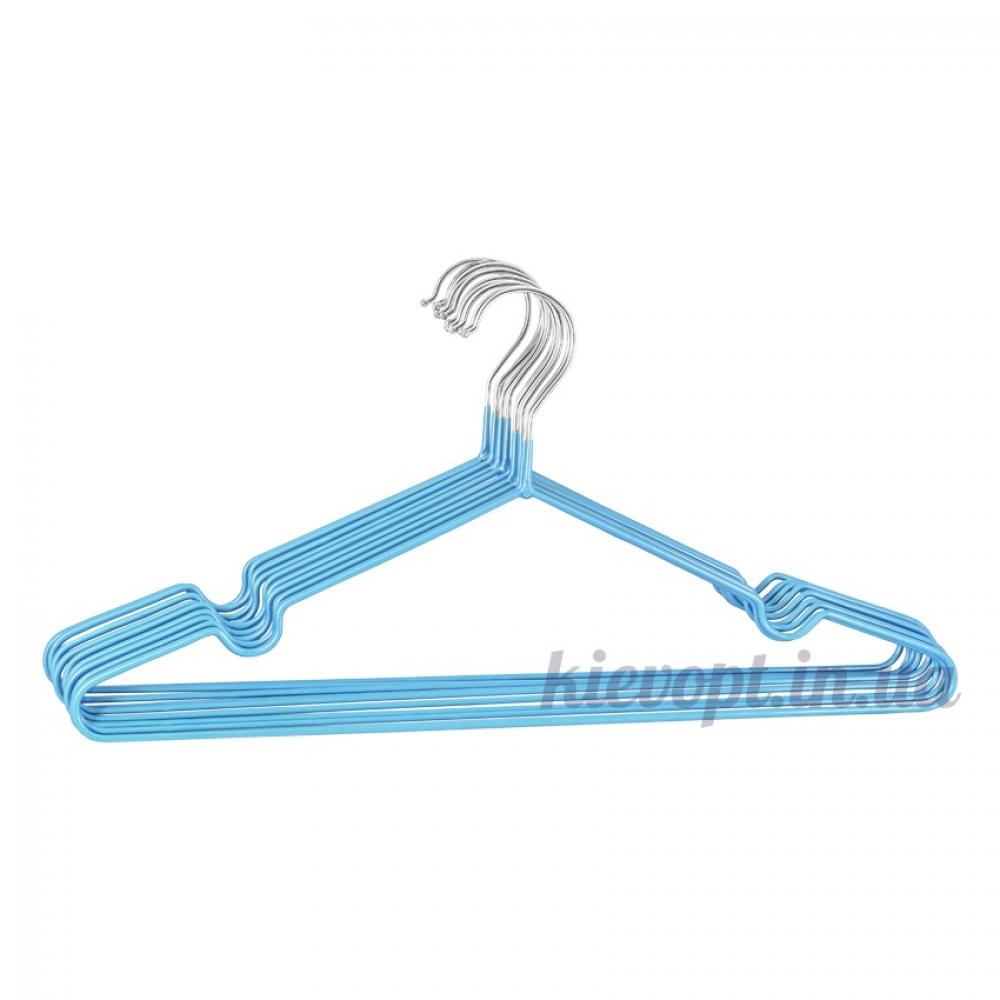 Металлические вешалки плечики в силиконовом покрытии голубые, 40 см, 10 шт