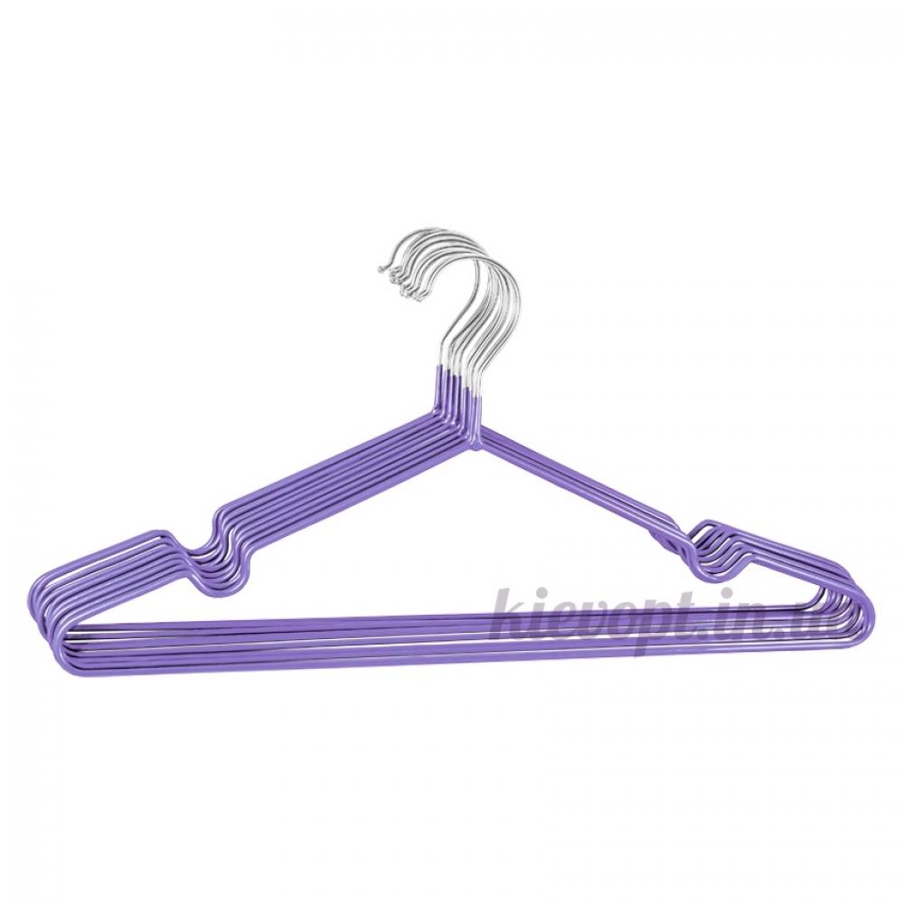 Металлические вешалки плечики в силиконовом покрытии фиолетовые, 40 см, 10 шт