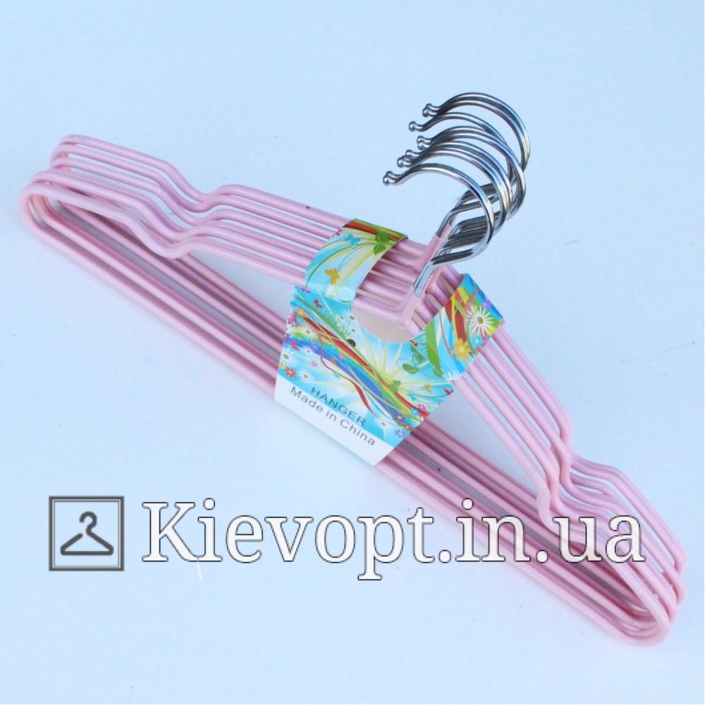 Металлические вешалки плечики толстые розовые, 40 см, 10 шт (03-01-23)