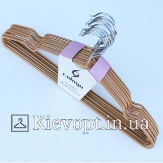 Металлические вешалки плечики толстые золотистые, 40 см (10 шт.) (03-01-24)