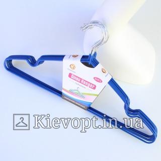 Металлические вешалки плечики в силиконовом покрытии синие, 40 см, 10 шт