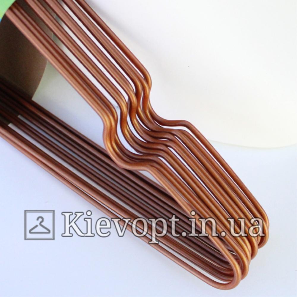 Металлические вешалки плечики в силиконовом покрытии бронзовые, 40 см, 10 шт
