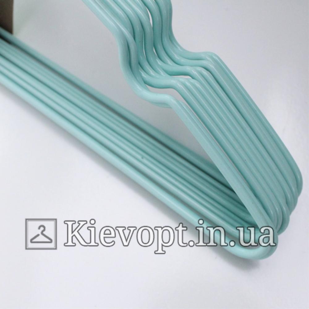 Металлические вешалки плечики в силиконовом покрытии мятные, 40 см, 10 шт