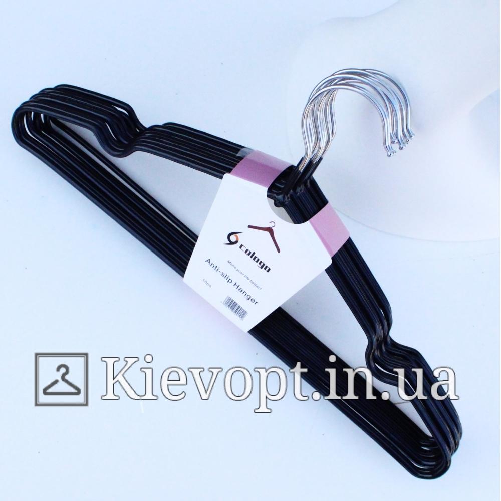 Металлические вешалки плечики толстые черные, 40 см, 10 шт (03-01-21)