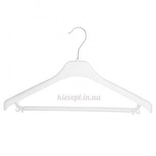 Плечики вешалки пластиковые с перекладиной белые, 46 см (02-23-04)
