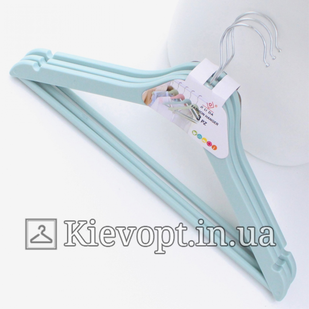 Плечики вешалки для одежды с анискользящей перекладиной бирюзовые, 44 см (02-23-12)