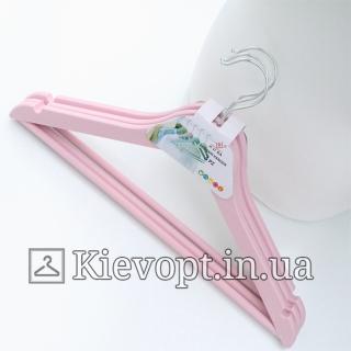 Плечики вешалки для одежды с анискользящей перекладиной розовые, 44 см (02-23-13)