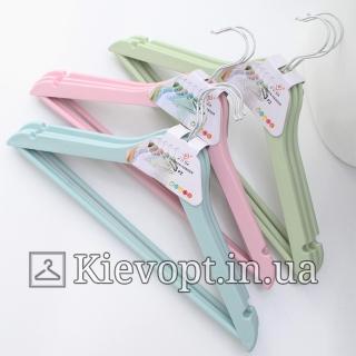 Плечики вешалки для одежды с анискользящей перекладиной мятные, 44 см (02-23-11)