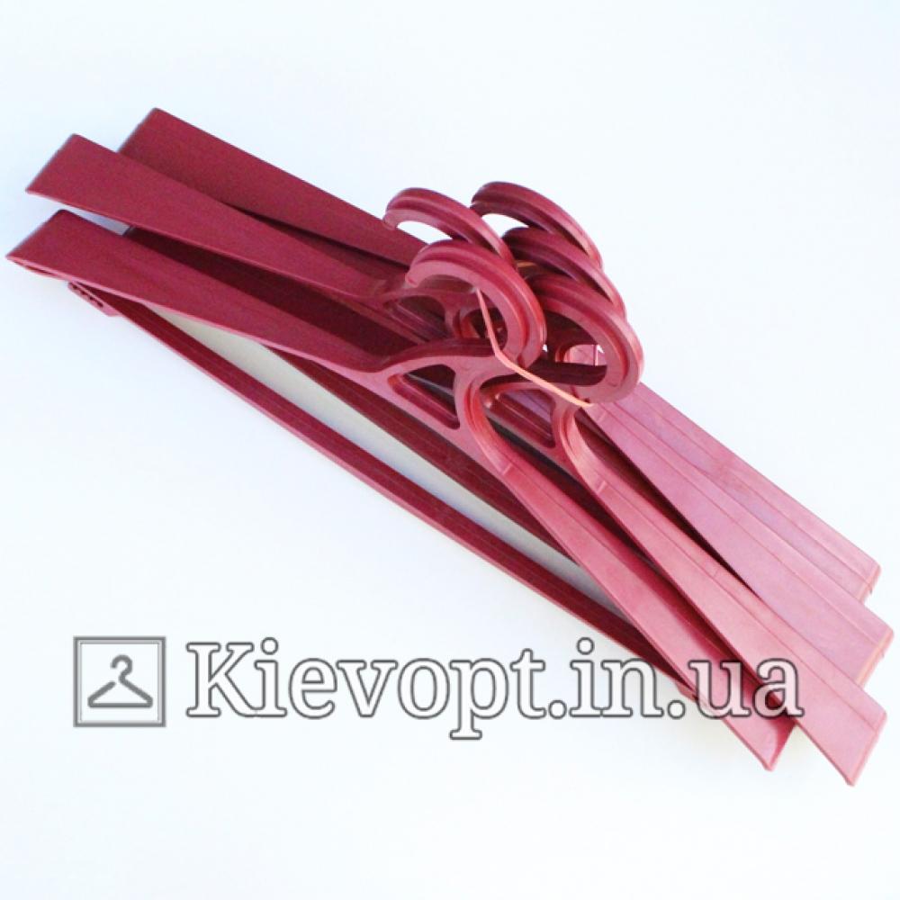 Вешалки плечики пластиковые для верхней одежды марсала, 48 см, 5 шт