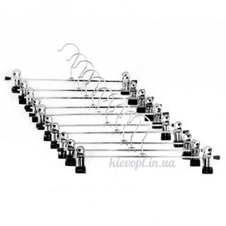Брючные вешалки хромированные с прищепками, 30 см (06-03-05)