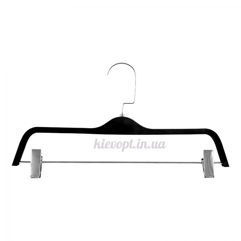 Брючные вешалки плечики с прищепками и покрытием soft touch, 38 см
