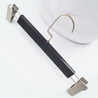 Тремпель деревянный, вешалки плечики с прищепками брючные черные, 33 см (06-09-20)