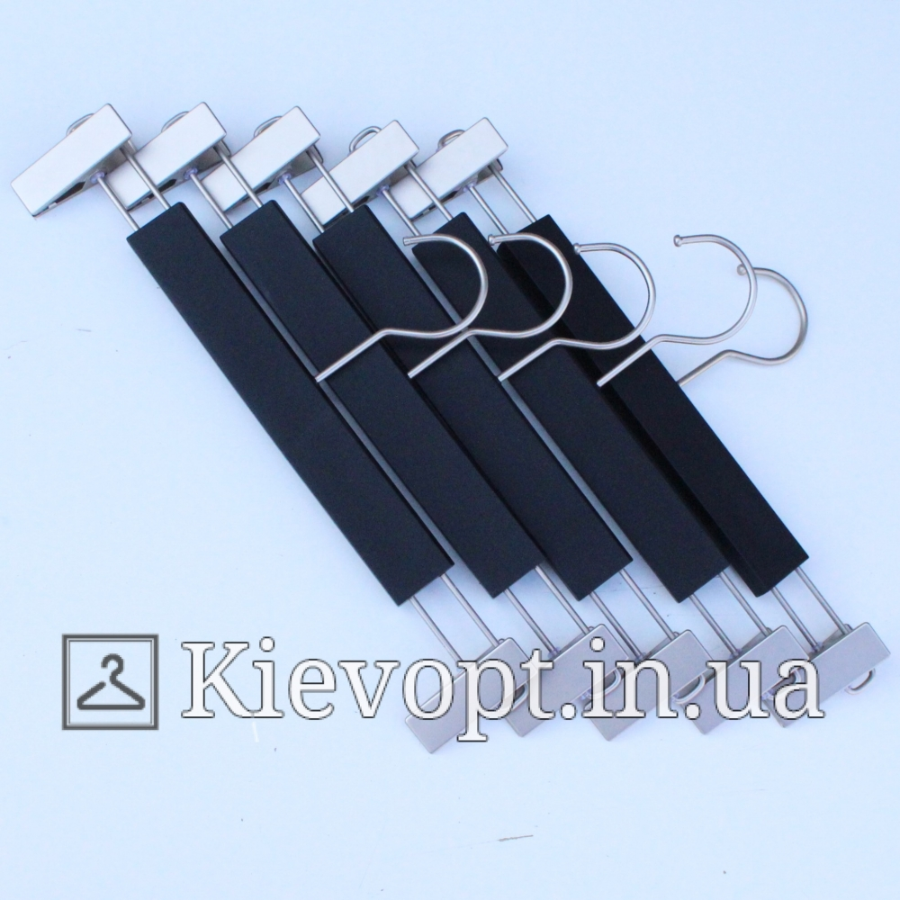 Плечики вешалки акриловые брючные с прищепками черные, 35 см (06-05-09)