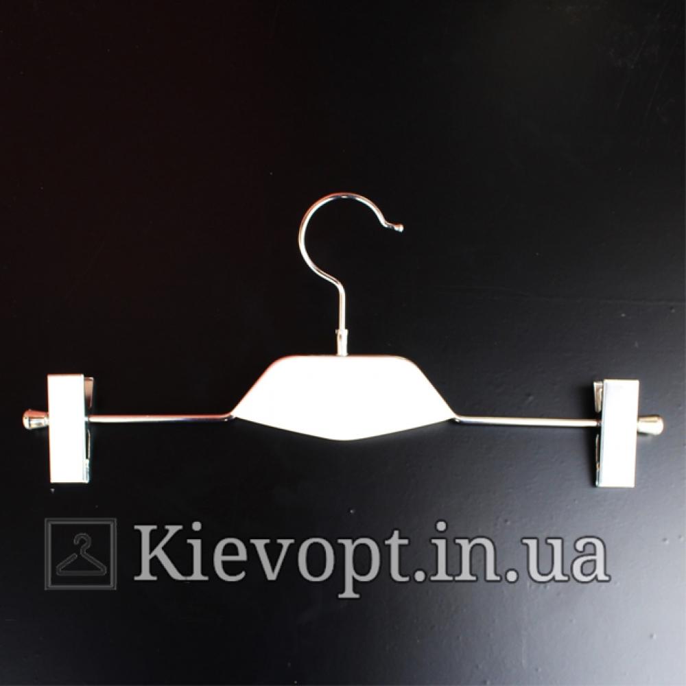 Брючные вешалки плечики с прищепками и белой деревянной вставкой, 36 см